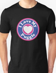 I LOVE MY PUGGLE DOG HEART I LOVE MY DOG PET PETS PUPPY STICKER STICKERS DECAL DECALS Unisex T-Shirt