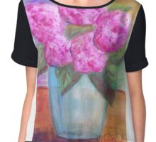 Peonies In Pink Chiffon Top