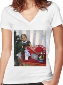 Christmas Scene Women's Fitted V-Neck T-Shirt