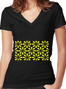 Black - Yellow Slices Women's Fitted V-Neck T-Shirt