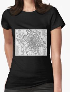 Vintage Map of Rome Italy (1911) Womens Fitted T-Shirt