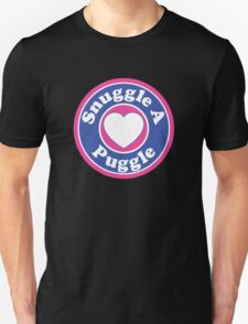 PUGGLE SNUGGLE A PUGGLE DOG HEART I LOVE MY DOG PET PETS PUPPY STICKER STICKERS DECAL DECALS Unisex T-Shirt