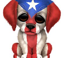 Cute Patriotic Puerto Rico Flag Puppy Dog by Jeff Bartels