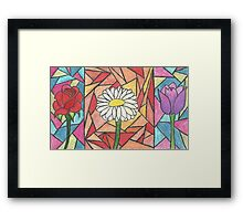 Stained Glass Flowers Framed Print