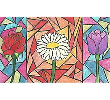 Stained Glass Flowers Photographic Print