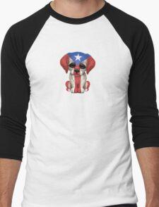 Cute Patriotic Puerto Rico Flag Puppy Dog Men's Baseball ¾ T-Shirt