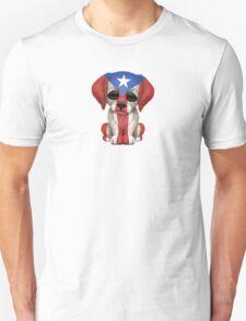 Cute Patriotic Puerto Rico Flag Puppy Dog T-Shirt
