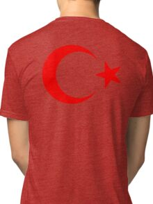 RED CRESCENT MOON, & Star, TURKEY, Crescent Moon, Flag of Turkey, Turkish Flag, Star, Pure & Simple on RED Tri-blend T-Shirt