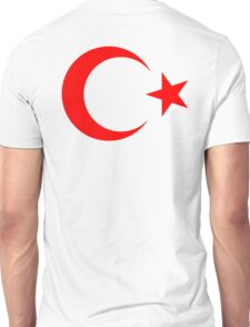 RED CRESCENT MOON, & Star, TURKEY, Crescent Moon, Flag of Turkey, Turkish Flag, Star, Pure & Simple on RED Unisex T-Shirt