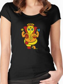Lord Ganesha in orange Women's Fitted Scoop T-Shirt