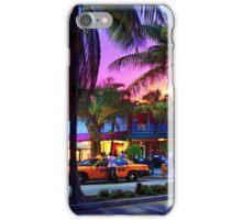 Miami - Dan ART Yellow Taxi Cab Sunset Street Scene iPhone Case/Skin