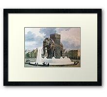 Vintage Elephant of The Bastille Illustration Framed Print