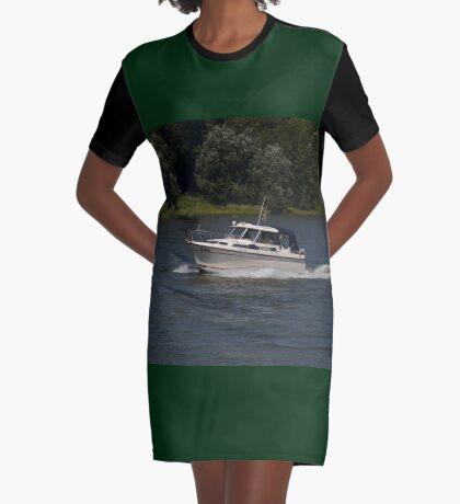 Small Cabin Cruiser Graphic T-Shirt Dress