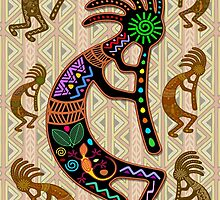 Kokopelli Rainbow Colors on Tribal Pattern  by BluedarkArt