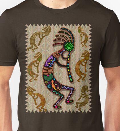 Kokopelli Rainbow Colors on Tribal Pattern  Unisex T-Shirt