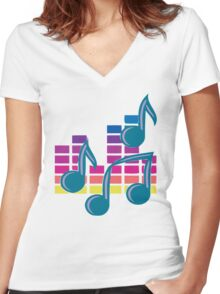Music Notes 80s Women's Fitted V-Neck T-Shirt