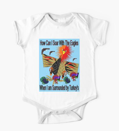"""SOARING WITH EAGLES"" Abstract Comical Print One Piece - Short Sleeve"