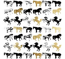 Gold and Black and White Marble Modern Horses Photographic Print