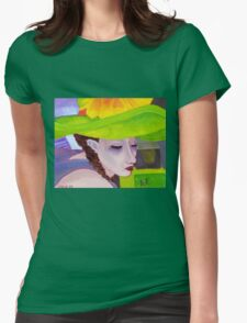 Girl with Big Green Hat Womens Fitted T-Shirt