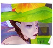 Girl with Big Green Hat Poster