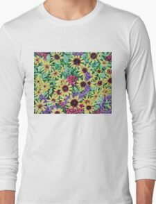 'Arrangement of Greens, Yellow, Purple and Red' Long Sleeve T-Shirt