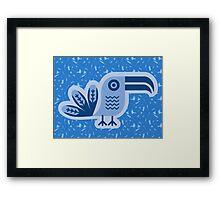 Toucan, bird, birdy, blue, vector, shapes Framed Print