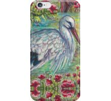 White Stork with Poppies iPhone Case/Skin