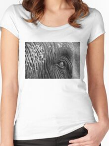 Close-up shot of Asian elephant eye Women's Fitted Scoop T-Shirt
