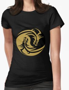 Gold Dragon Yin Yang Womens Fitted T-Shirt