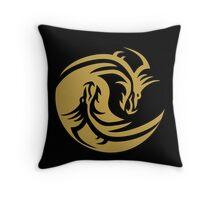 Gold Dragon Yin Yang Throw Pillow