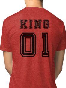 Vintage College Football Jersey Joking Design - King   Tri-blend T-Shirt