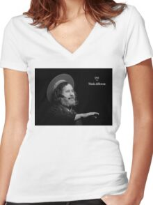 Stallman Think Different Women's Fitted V-Neck T-Shirt