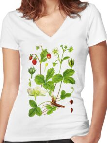 alpine strawberry Women's Fitted V-Neck T-Shirt