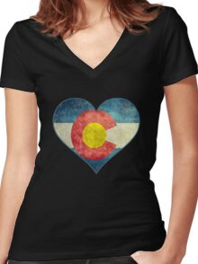 Heart Colorado American flag retro style best funny t-shirt Women's Fitted V-Neck T-Shirt
