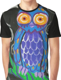 Whimsical Retro Style Owl Graphic T-Shirt
