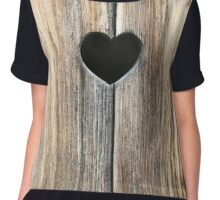 Rustic Brown Heart in Wood Chiffon Top
