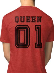 Sports Queen - Funny College Football Retro Design for Girls Tri-blend T-Shirt