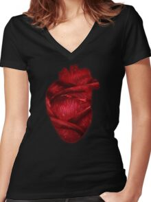 Red Scarlet Blood Rose Heart Women's Fitted V-Neck T-Shirt