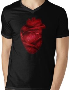 Red Scarlet Blood Rose Heart Mens V-Neck T-Shirt