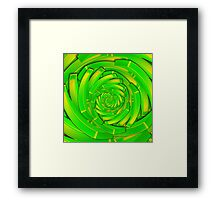 green and yellow block swirl vortex Framed Print