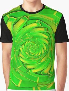green and yellow block swirl vortex Graphic T-Shirt