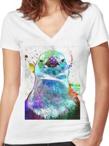 Penguin Grunge Women's Fitted V-Neck T-Shirt