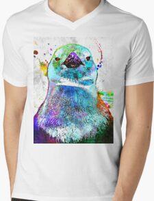Penguin Grunge Mens V-Neck T-Shirt
