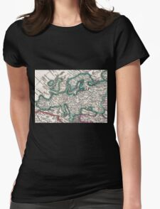 Vintage Map of Europe (1685) Womens Fitted T-Shirt