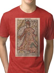 Vintage Map of Europe as a Queen (1570) Tri-blend T-Shirt