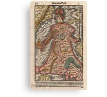 Vintage Map of Europe as a Queen (1570) Canvas Print