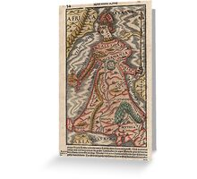 Vintage Map of Europe as a Queen (1570) Greeting Card