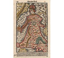 Vintage Map of Europe as a Queen (1570) Photographic Print
