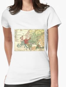 Vintage Linguistic Map of Europe (1907) Womens Fitted T-Shirt