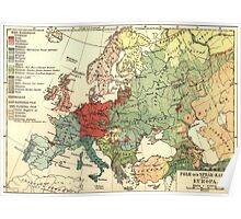 Vintage Linguistic Map of Europe (1907) Poster